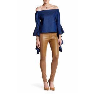 NWT $86 Gracia Faux Leather Panel Legging Pants